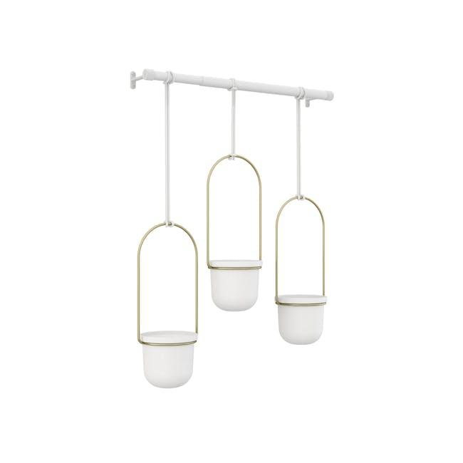 Triflora Hanging Planter - White, Brass (Set of 3) - 3