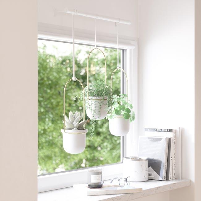 Triflora Hanging Planter - White, Brass (Set of 3) - 11
