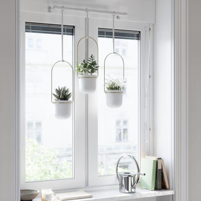 Triflora Hanging Planter - White, Brass (Set of 3) - 9