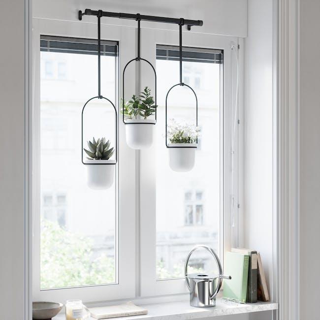 Triflora Hanging Planter - White, Black (Set of 3) - 9