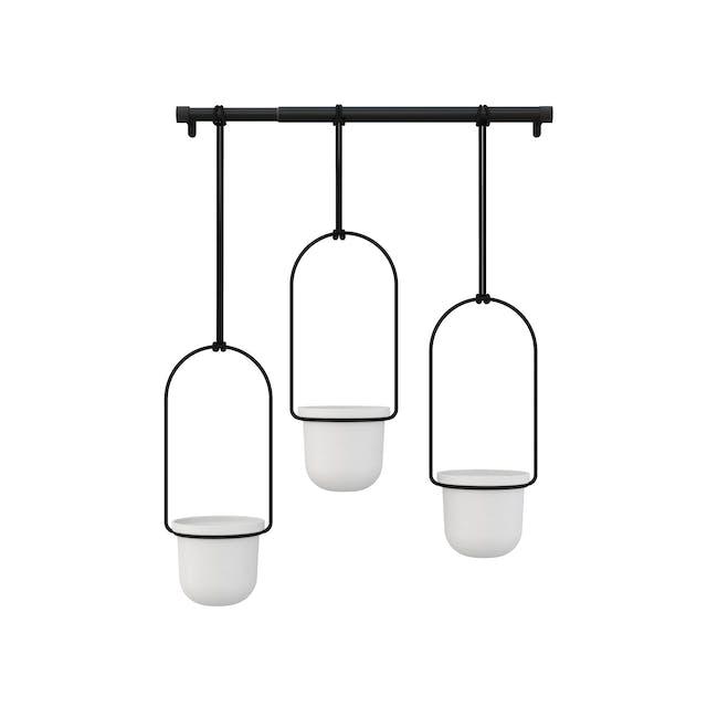 Triflora Hanging Planter - White, Black (Set of 3) - 2