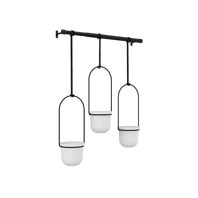 Triflora Hanging Planter - White, Black (Set of 3) - 4