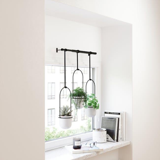 Triflora Hanging Planter - White, Black (Set of 3) - 10