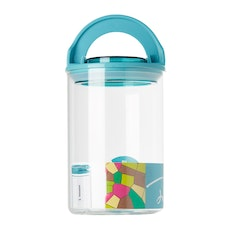 1L Glass Jar With Handle Lock Cover - Blue