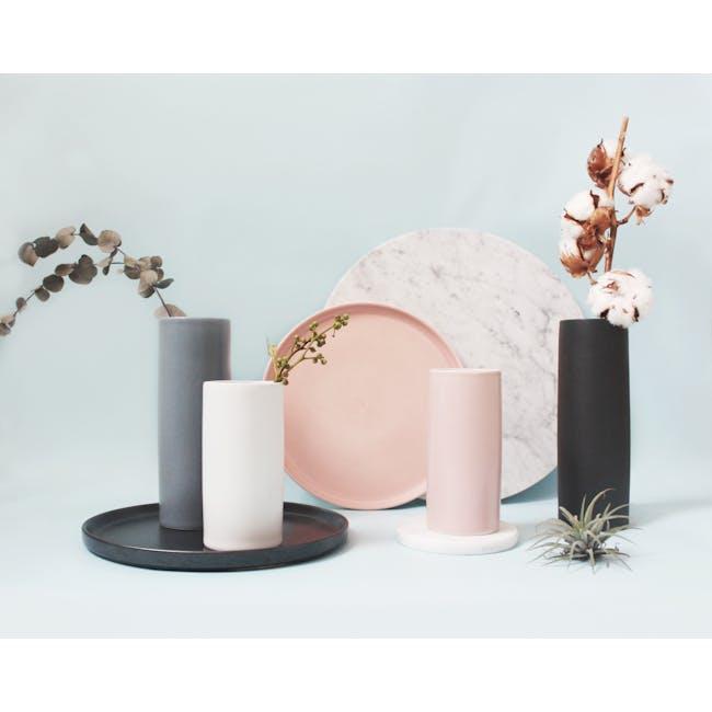 Nordic Matte Vase Medium Straight Cylinder - Blue Grey - 5