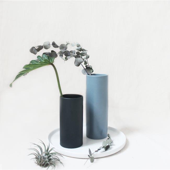 Nordic Matte Vase Medium Straight Cylinder - Blue Grey - 2