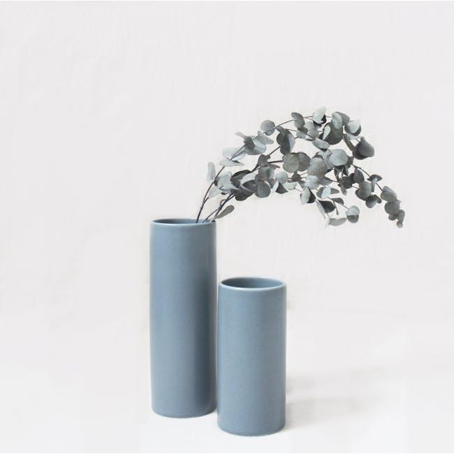 Nordic Matte Vase Medium Straight Cylinder - Blue Grey - 4
