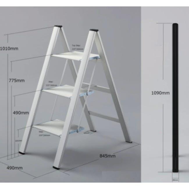 Hasegawa Lucano Slim Aluminium 3 Step Stool - White - 1