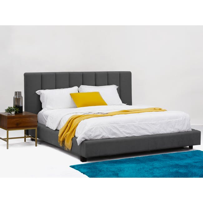 Elliot Queen Bed in Onyx Grey with 2 Nixon Bedside Tables in Gold, Walnut - 2