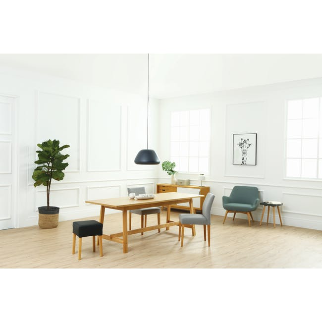 Haynes Table 2.2m in Oak with 4 Ladee Dining Chairs in Natural, Pale Grey - 9