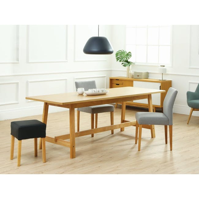 Haynes Table 2.2m in Oak with 4 Ladee Dining Chairs in Natural, Pale Grey - 1