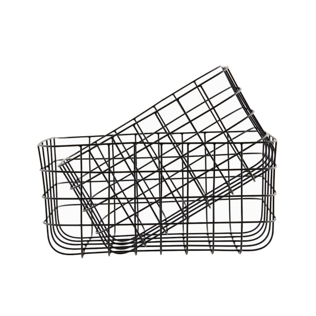 Diana Tall Wire Basket - Black (Set of 2) - 0