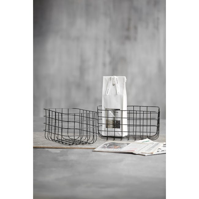 Diana Tall Wire Basket - Black (Set of 2) - 3