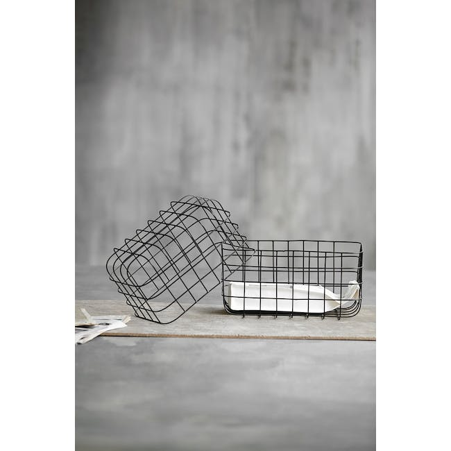 Diana Tall Wire Basket - Black (Set of 2) - 2