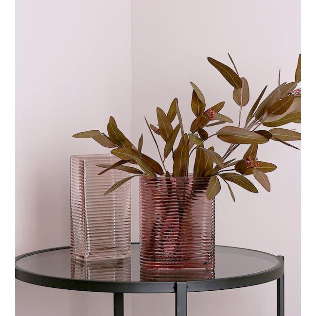 Flor Retro Ribbed Vase 17 cm - Maroon - 3