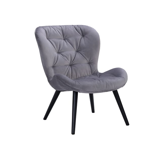 Salomi Lounge Chair - Black, Ash Grey (Velvet) - 0