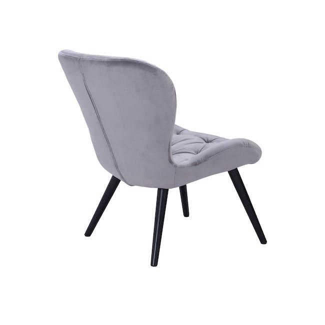 Salomi Lounge Chair - Black, Ash Grey (Velvet) - 2