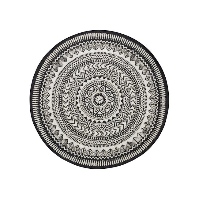 Essenza Round Flatwoven Rug 1.2m - Black Mandala - 0