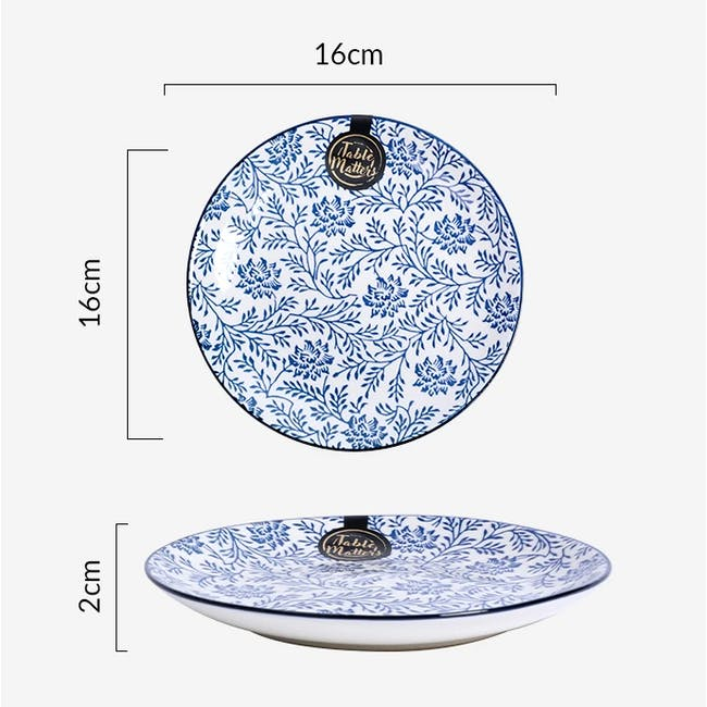 Table Matters Floral Blue Coupe Plate - 3