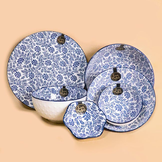Table Matters Floral Blue Coupe Plate - 1