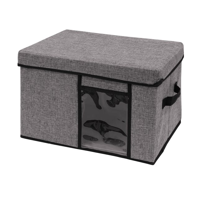 Jane Fabric Storage Case - Grey - Large - 0