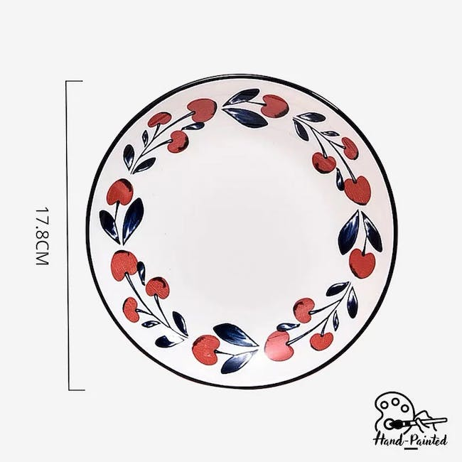 Table Matters Holiday Berry Hand Painted  Dessert Plate - 2