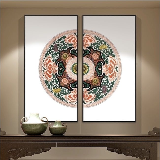 Modern Chinese Medallion Art Print on Stretched Canvas with Black Frame 50cm x 100cm (Set of 2) - 3