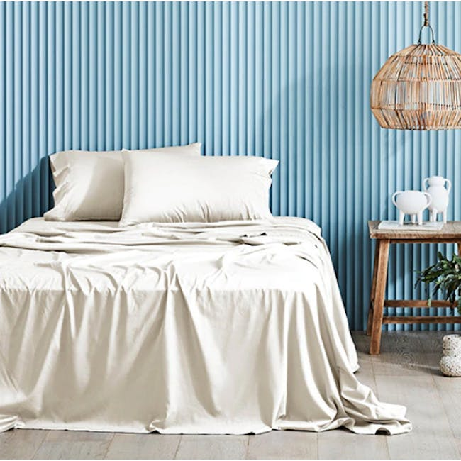 Canningvale Lustro Bamboo Queen Quilt Cover Set - Crema Ivory - 0