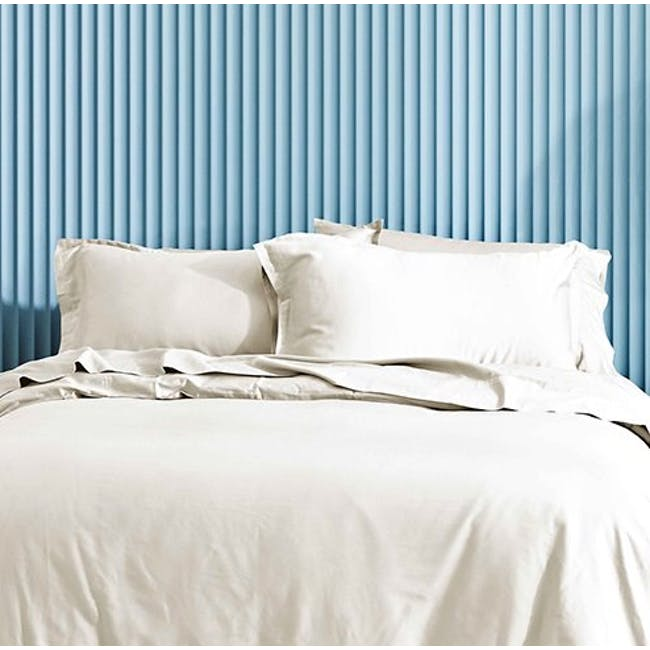Canningvale Lustro Bamboo Queen Quilt Cover Set - Crema Ivory - 1