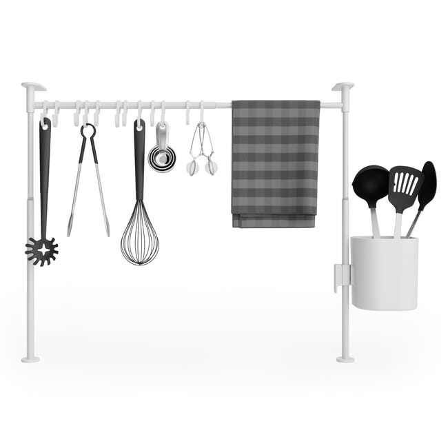 Anywhere Tension Organiser with 1 Caddy and 12 hooks - White - 0