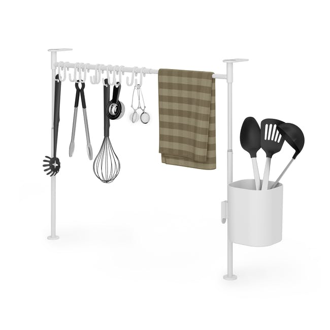 Anywhere Tension Organiser with 1 Caddy and 12 hooks - White - 1