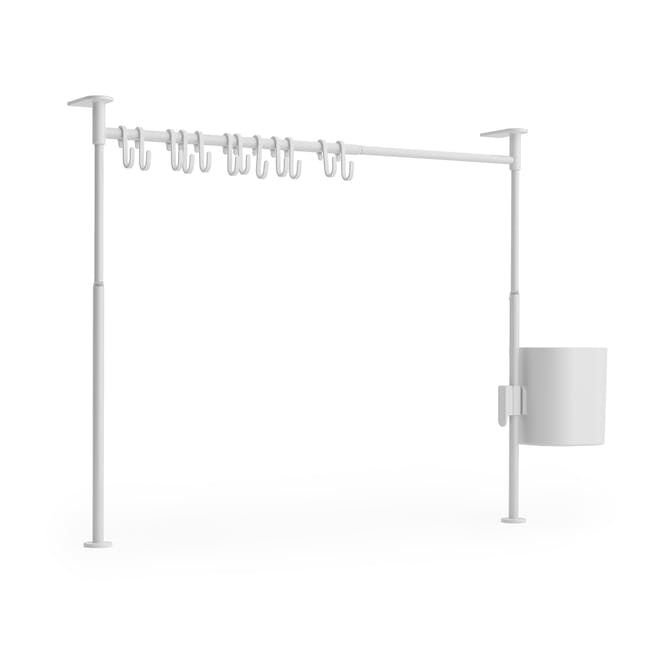 Anywhere Tension Organiser with 1 Caddy and 12 hooks - White - 2