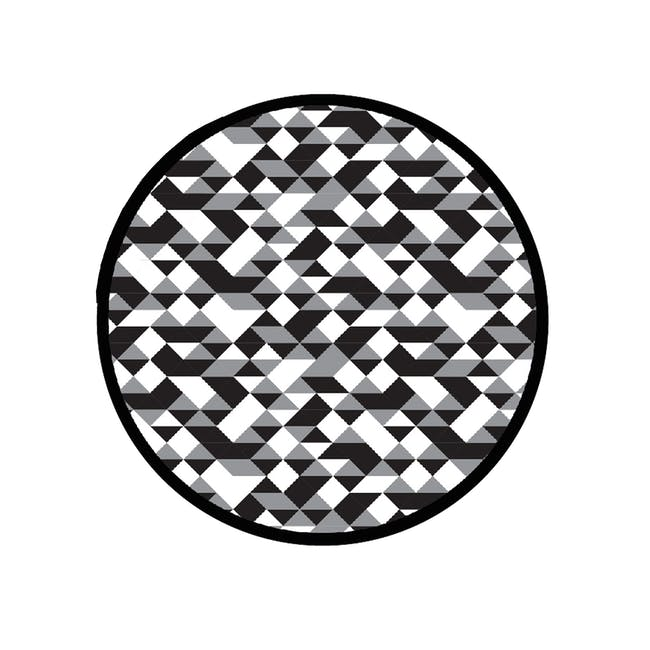 Diamond Round Reversible Mat - Black - 0