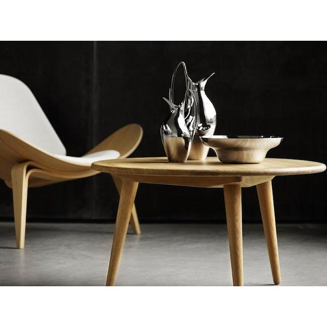 Shell Chair - Oak, White (Genuine Leather) - 1