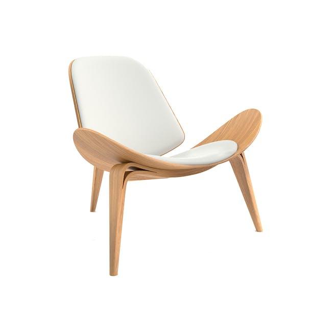 Shell Chair - Oak, White (Genuine Leather) - 0