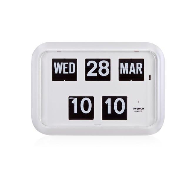 TWEMCO Big Calendar Flip Wall Clock - White - 0