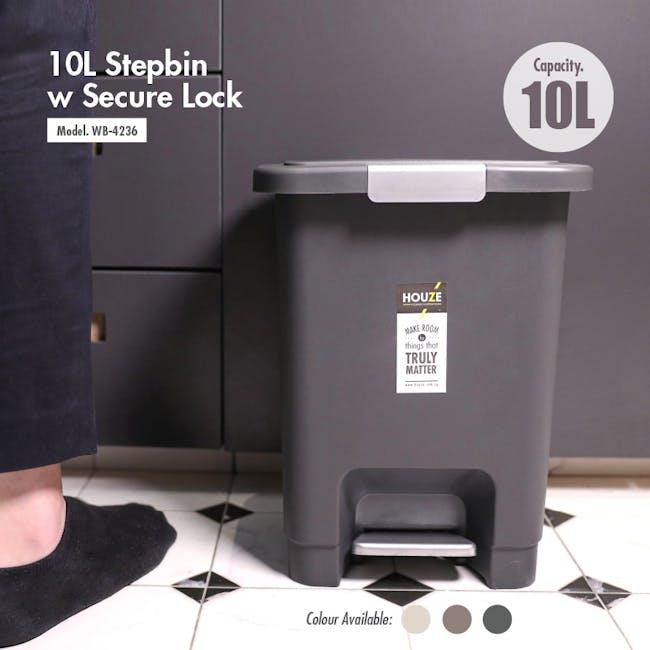 HOUZE 10L Stepbin with Secure Lock - Black - 2