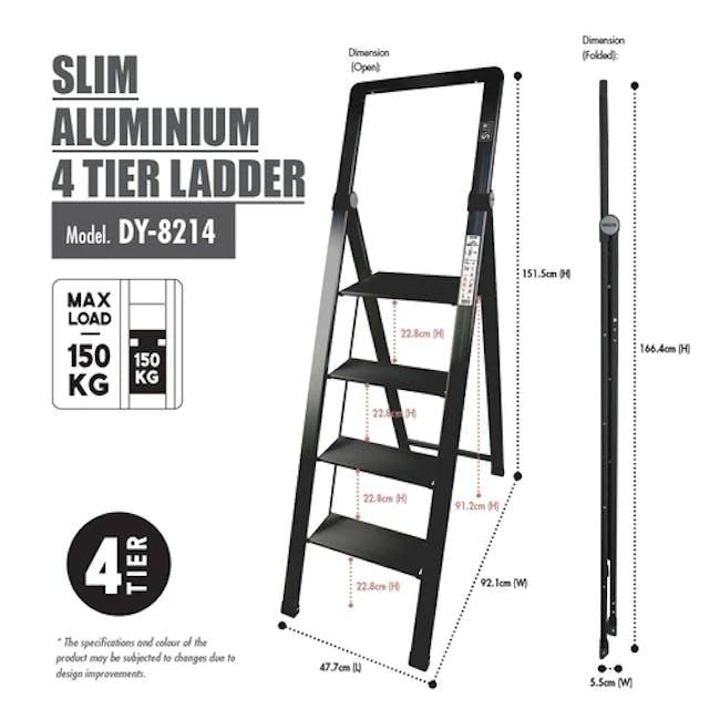 HOUZE Slim Aluminium 4 Tier Ladder - 2