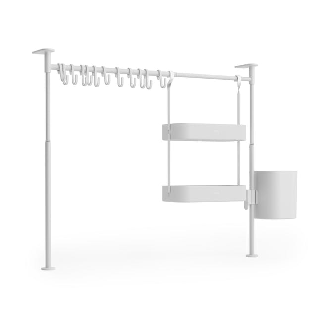 Anywhere Tension Organiser with 1 Caddy, 1 Tray and 12 hooks - White - 3