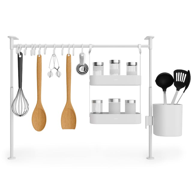 Anywhere Tension Organiser with 1 Caddy, 1 Tray and 12 hooks - White - 0