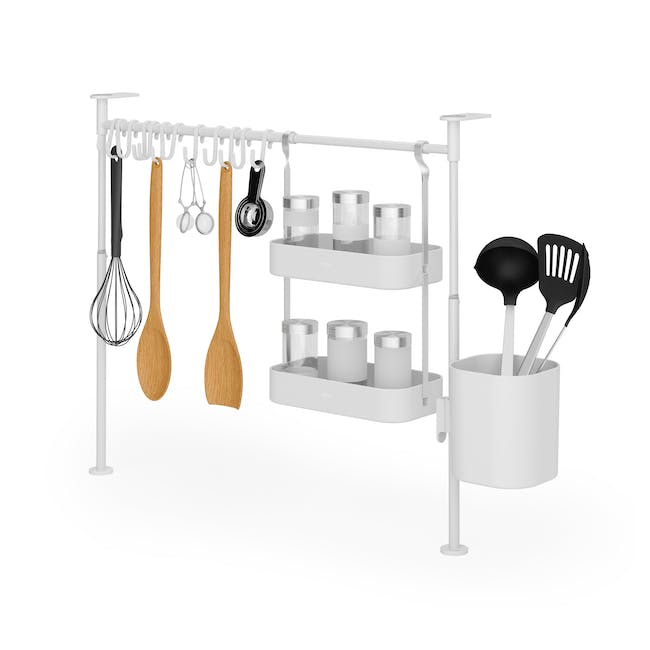 Anywhere Tension Organiser with 1 Caddy, 1 Tray and 12 hooks - White - 1