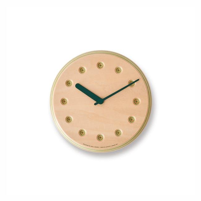 Dot Paper-Wood Clock - Green - 0