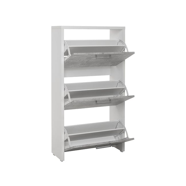 Frida 3-Door Shoe Cabinet - White, Concrete Laminate - 1