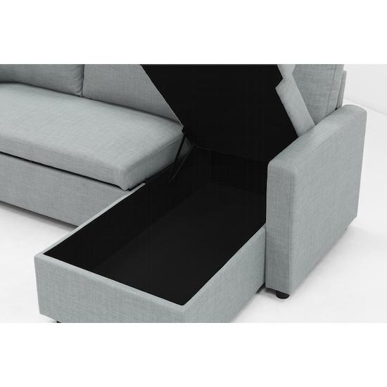 Mia L Shape Sofa Bed With Storage Silver
