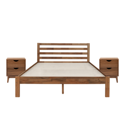 Kyoto Solid Wood King Bed with 2 Kyoto Twin Drawer Bedside Tables - Walnut - Image 1
