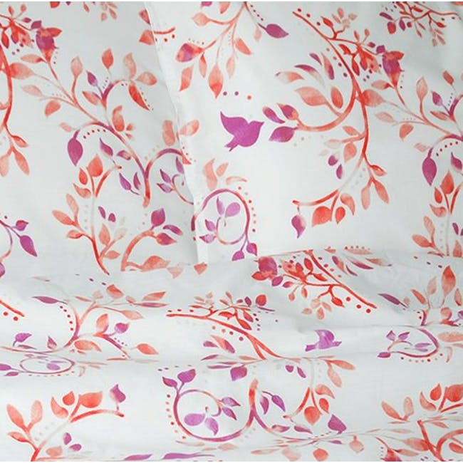 Canningvale Sleep Easy Botanica Quilt Cover Set - Dusky Red (2 Sizes) - 0