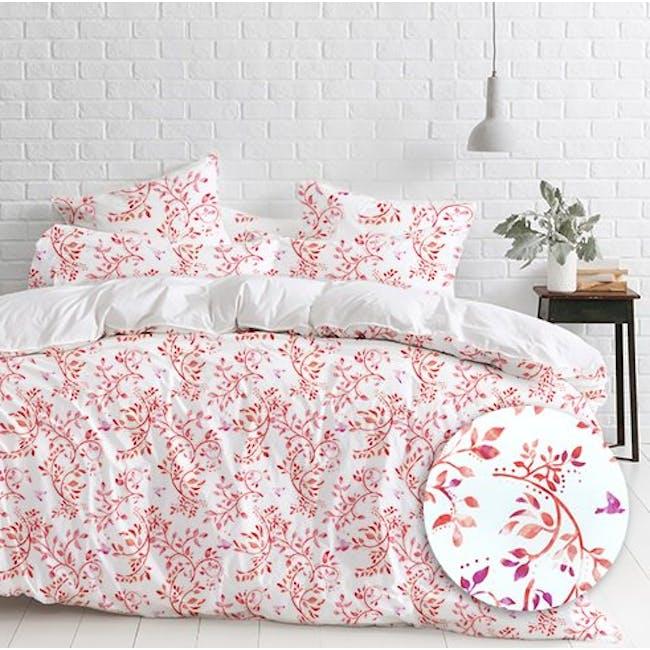 Canningvale Sleep Easy Botanica Quilt Cover Set - Dusky Red (2 Sizes) - 1