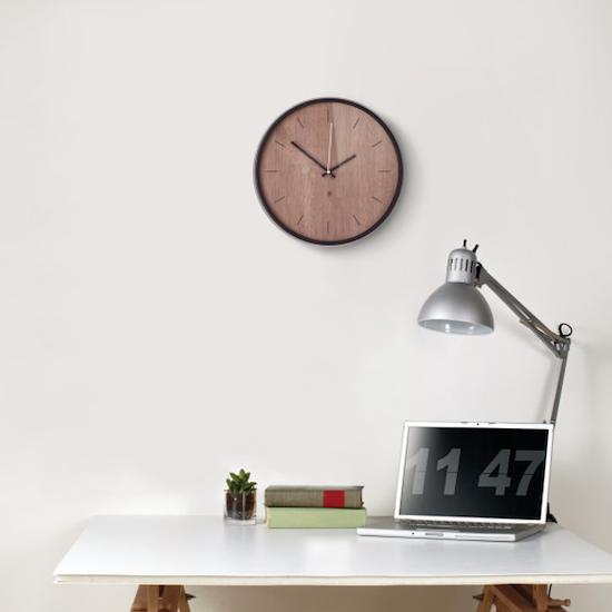 Umbra - Madera Wall Clock - Black, Walnut