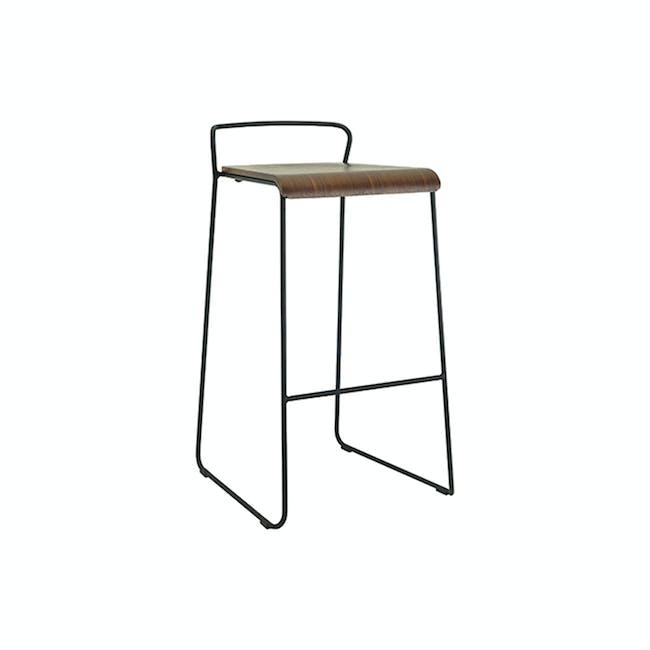 Colby Bar Chair - Walnut, Matt Black - 6