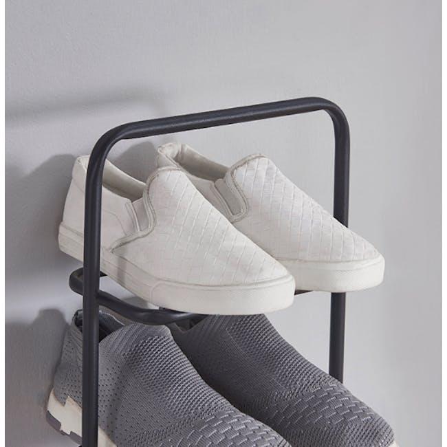 Chester Shoe Rack - Black, Walnut - 6